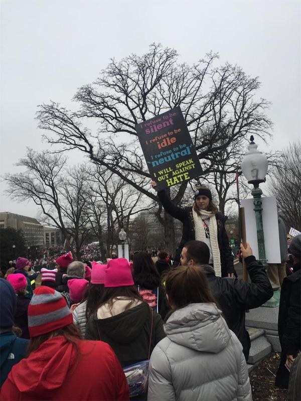 Protest sign held up at The Women's March in Washington DC, January 21st, 2017.