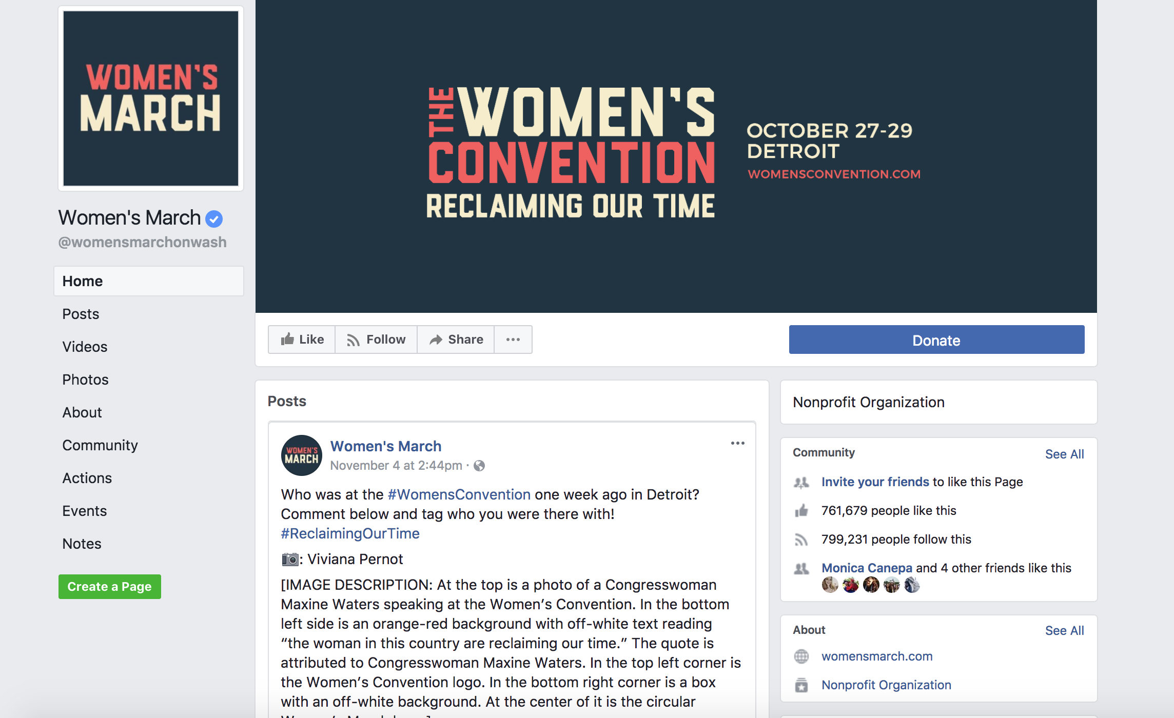 women's march facebook homepage